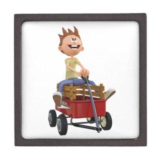 Cartoon Boy in Wagon Keepsake Box