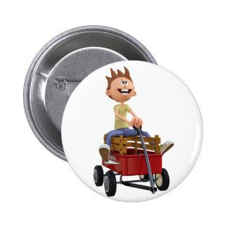 Cartoon Boy in Wagon Pinback Button