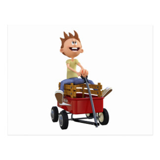 Cartoon Boy in Wagon Postcard