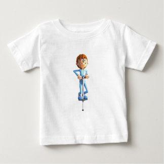 Cartoon Boy on a Pogo Stick Baby T-Shirt