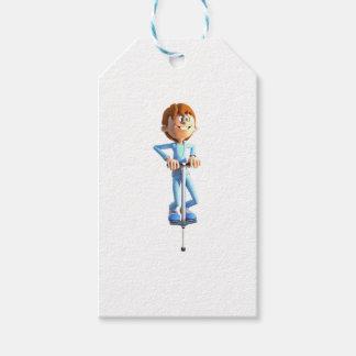 Cartoon Boy on a Pogo Stick Gift Tags