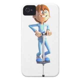 Cartoon Boy on a Pogo Stick iPhone 4 Case