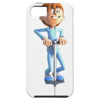 Cartoon Boy on a Pogo Stick iPhone SE/5/5s Case