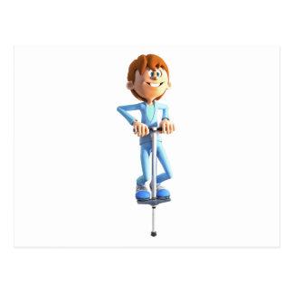 Cartoon Boy on a Pogo Stick Postcard