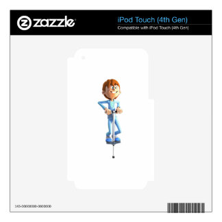 Cartoon Boy on a Pogo Stick Skins For iPod Touch 4G