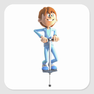 Cartoon Boy on a Pogo Stick Square Sticker