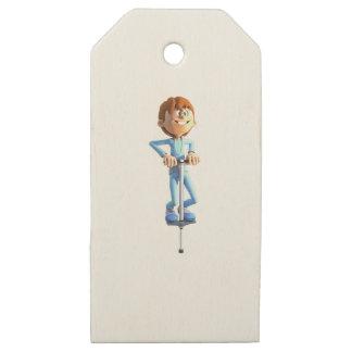 Cartoon Boy on a Pogo Stick Wooden Gift Tags