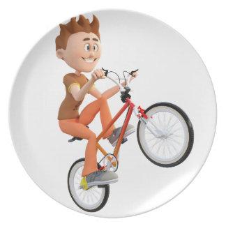Cartoon Boy on Bike Doing A Wheelie Dinner Plate