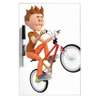 Cartoon Boy on Bike Doing A Wheelie Dry-Erase Board