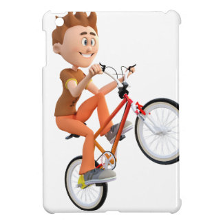 Cartoon Boy on Bike Doing A Wheelie iPad Mini Covers