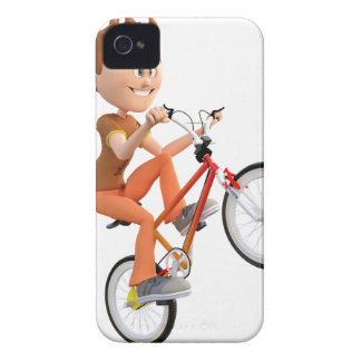 Cartoon Boy on Bike Doing A Wheelie iPhone 4 Case-Mate Case