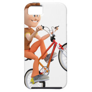 Cartoon Boy on Bike Doing A Wheelie iPhone SE/5/5s Case