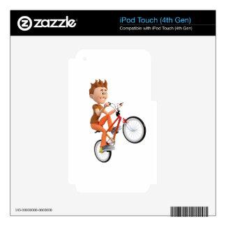 Cartoon Boy on Bike Doing A Wheelie iPod Touch 4G Decal