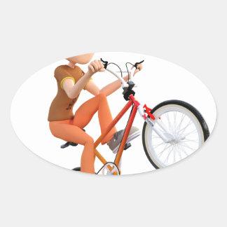 Cartoon Boy on Bike Doing A Wheelie Oval Sticker