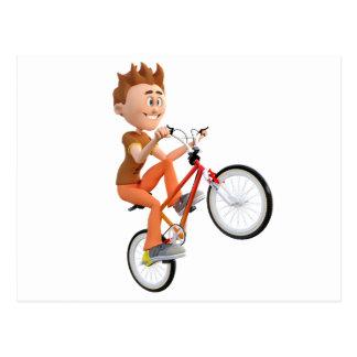 Cartoon Boy on Bike Doing A Wheelie Postcard