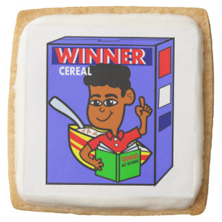 Cartoon Boy on Breakfast Cereal Box Square Shortbread Cookie