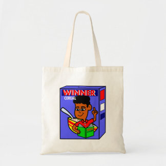 Cartoon Boy on Cereal Box Tote Bag