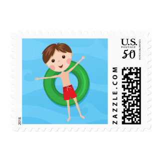 Cartoon boy on inflatable ring, summer fun postage