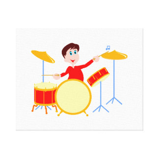 Cartoon boy playing drumset jagged edges canvas print