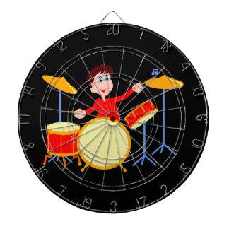 Cartoon boy playing drumset jagged edges dart board