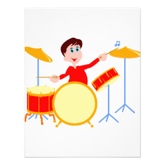 Cartoon boy playing drumset jagged edges personalized announcements