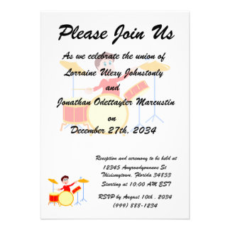 Cartoon boy playing drumset jagged edges personalized invite
