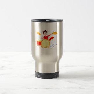 Cartoon boy playing drumset jagged edges coffee mug