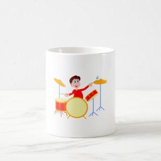 Cartoon boy playing drumset jagged edges mugs