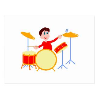 Cartoon boy playing drumset jagged edges postcard