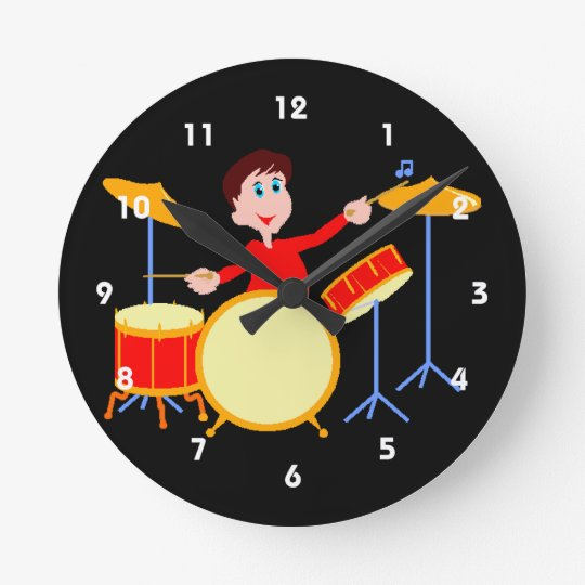 Cartoon boy playing drumset jagged edges round clock