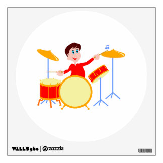 Cartoon boy playing drumset jagged edges wall stickers