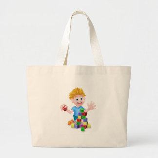 Cartoon Boy Playing With Building Blocks Large Tote Bag