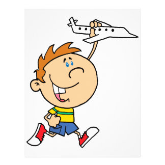 cartoon boy playing with toy airplane flyer