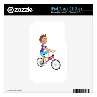 Cartoon Boy Riding A Bike Decals For iPod Touch 4G
