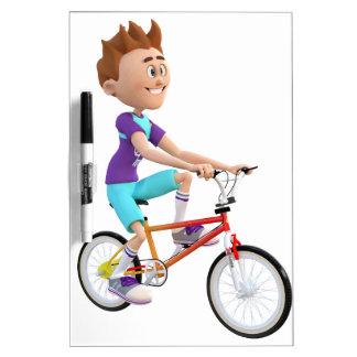 Cartoon Boy Riding A Bike Dry-Erase Board