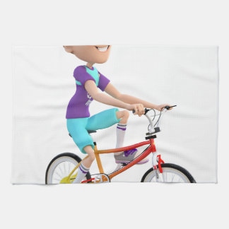 Cartoon Boy Riding A Bike Hand Towel
