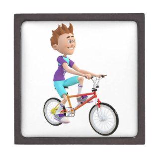 Cartoon Boy Riding A Bike Jewelry Box