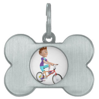 Cartoon Boy Riding A Bike Pet Name Tag