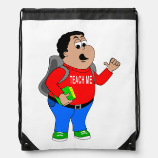 cartoon boy TEACH ME thumps up character Drawstring Backpack