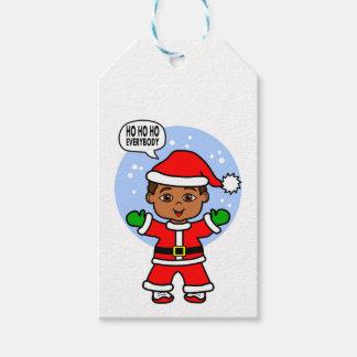 Cartoon Boy Wearing Santa Suit Holiday Cheers Gift Tags