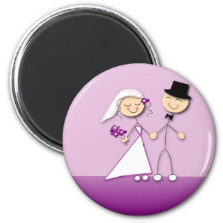 Cartoon bride and groom magnet
