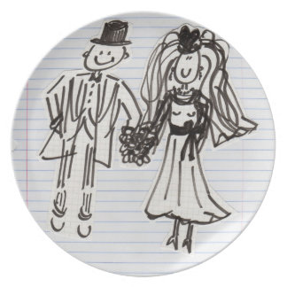 Cartoon Bride and Groom Wedding Plate