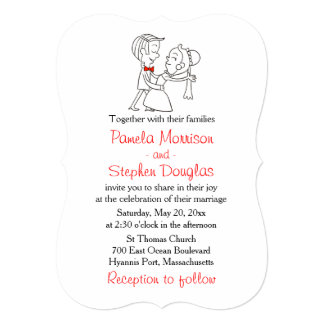 Cartoon Bride & Groom Black, White & Red Wedding Card