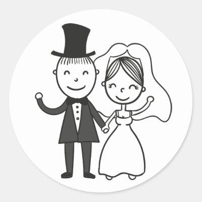 bride and groom cartoon wedding engagement square sticker zazzle com