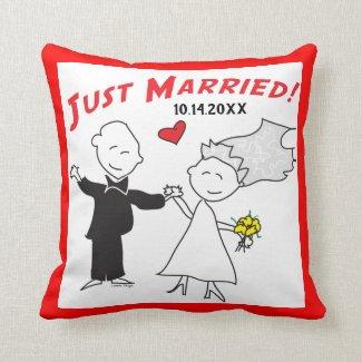 Cartoon Bride Groom Just Married Wedding