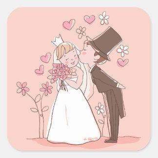 Cartoon Bride & Groom Pink Wedding Sticker