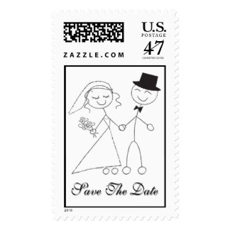Cartoon Bride & Groom Save The Date RSVP Invite Postage
