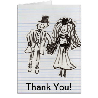 Cartoon Bride+Groom Thank You Card