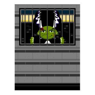 Cartoon Bride of Frankenstein in Jail Cell Postcard