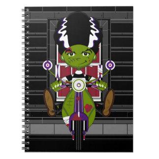 Cartoon Bride of Frankenstein on Scooter Spiral Notebooks